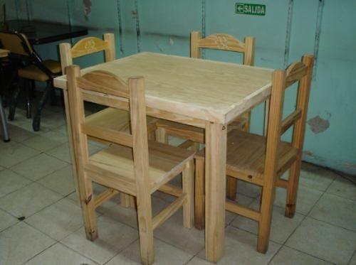 espectacular combo mesa pino 1,00x0,75 con 4 sillas macizas!