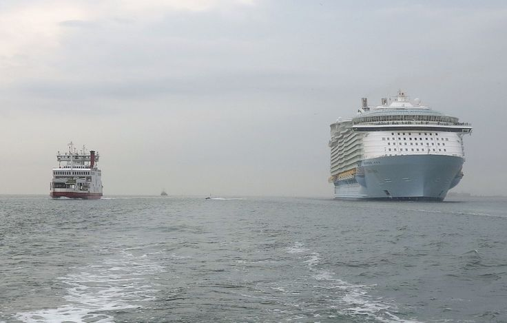 See the world's largest cruise liner next to a Red Funnel ferry