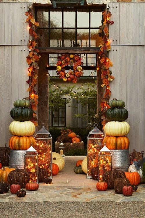 pumpkins, leaves, and laterns