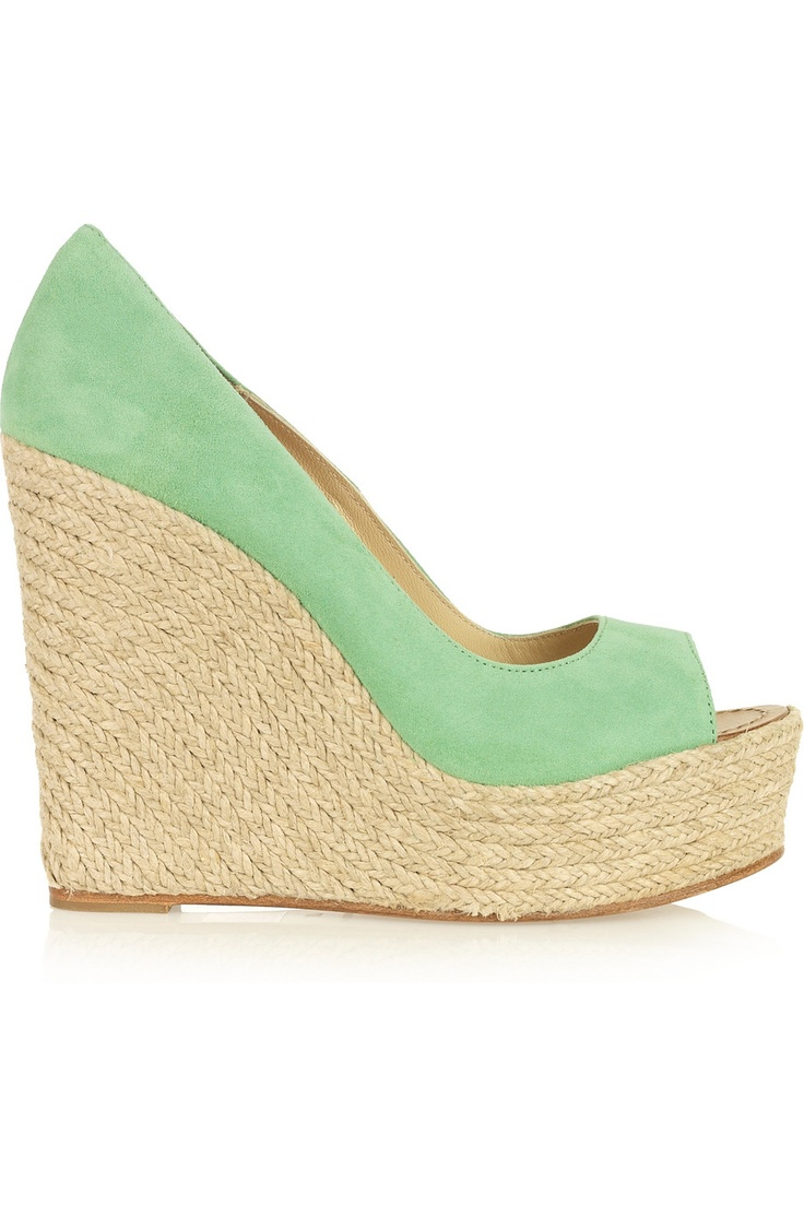 love this color. i would if i would twist my ankles in these wedges.