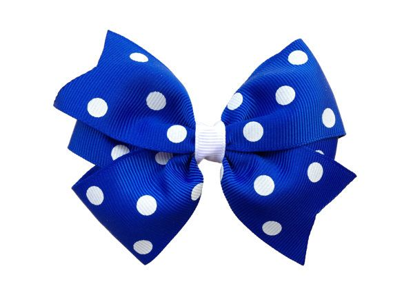 Blue polka dot hair bow  blue hair bow by BrownEyedBowtique, $5.00