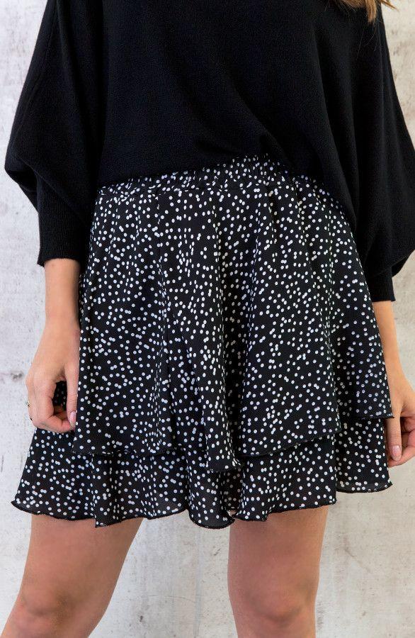 Uitgelezene Black - White polka dots shirt - Zwart wit bolletjes rokje EI-15