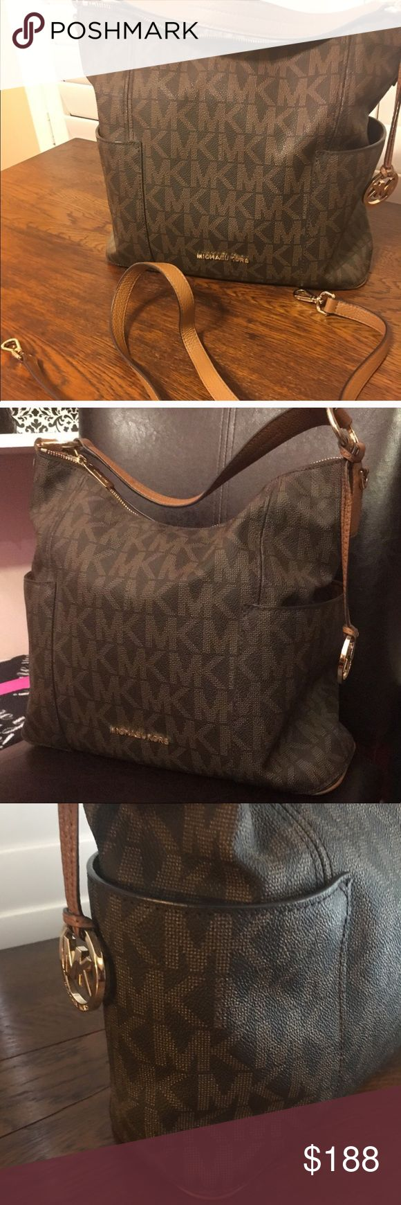 Michael Kors handbag (Today only price). Authentic and in Excellent Condition.... this MK is a roomy bag with lots of pocket space.  The inside has 2 roomy sides and a very roomy zipper compartment dividing the two sides. Plus the many smaller pockets for 💄🖊🍬. The outside has 2 nice pockets for your 📱. This is a signature bag which has his name placed on certain areas of the outside.  📌Can be worn: - Crossbody  - Shoulder  - Tote You won't be disappointed 👌🏽  ✔️No holds ✔️No trades…