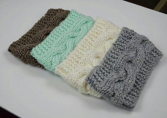Knit Headband Cable Braided Earwarmer Crochet Head Wrap by jfaze