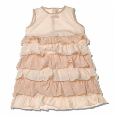 NaturaPura Φορεματάκι Ζέρσευ με Εκρού και Μπεζ Φραμπαλά