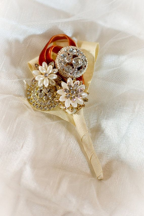 Gorgeous Custom Brooch Boutonniere. Broach by ShinyWonders on Etsy