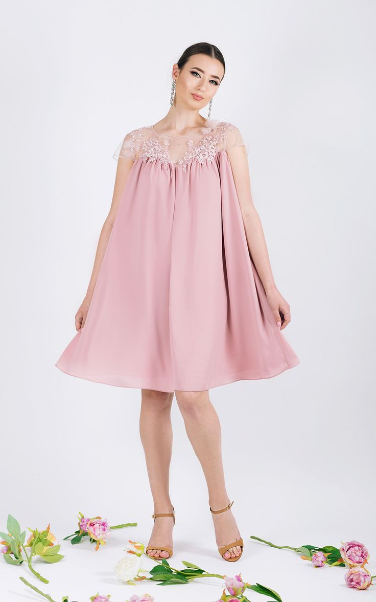 Short length dress with lace and  Swarovski elements     <span...