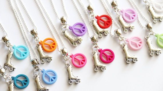 Roller Skating Party Favors 10 Necklaces, Girl Necklace, Roller Skate Favor, Girl Gift, Peace Sign Assorted Color, Roller Skate Party Favors
