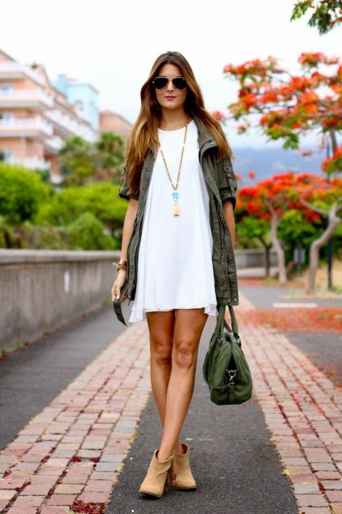 Idée robe blanche courte et saharienne veste femme la saharienne robe idée moderne