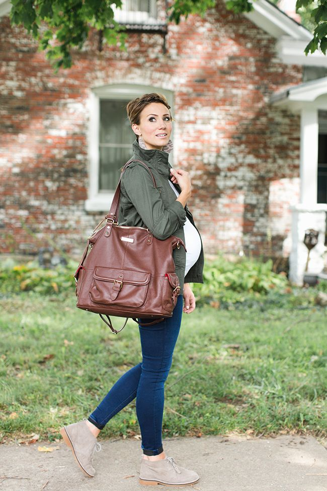 ONE little MOMMA: Military Jacket and Desert Boots Maternity Style