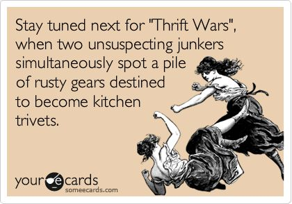 Stay tuned next for 'Thrift Wars', when two unsuspecting junkers simultaneously spot a pile of rusty gears destined to become kitchen trivets. (by Funky Junk)Rusty Gears, Bi Funky, Stay Tunes, Unsuspect Junker, Funky Junk, Hgtv, Barbara Johnson, Thrift Wars, Kitchens Trivet