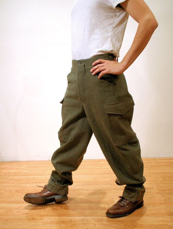 Vintage sueco lana ejército pantalones años 40 por MisterBibs