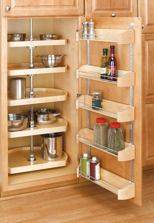 "Kitchen Storage in a Small Space - Corner Lazy Susan - 5 - 22"" D-Shape shelves designed for pantry/tall cabinet applications + Adjustable Door Storage trays sold separately - via Rev-A-Shelf"