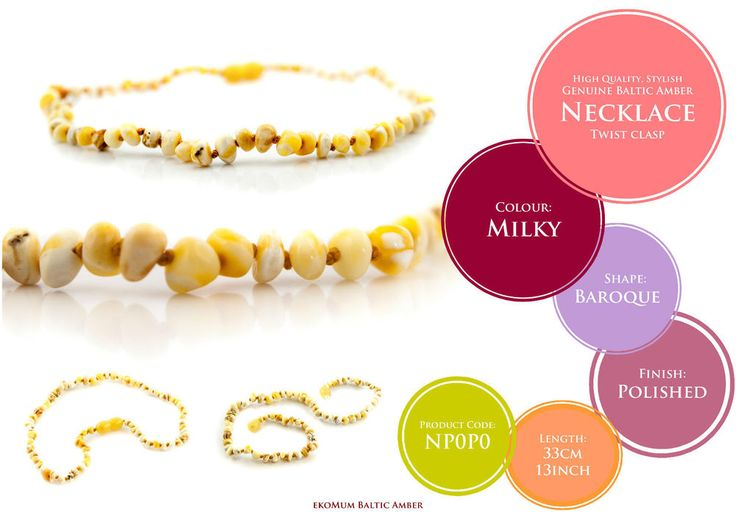 Baby Teething Amber Necklace Milky Genuine Baltic Beads  #teething #amber #teethingremedies #teethingremedy #amberjewelry