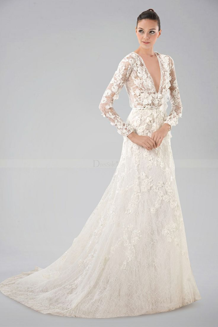 Breezy v neckline long sleeve wedding gown with lace for Wedding dress lace overlay