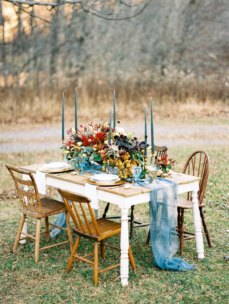 Winter Wedding Tablescape in Blue, Gold & Orange
