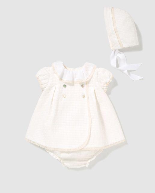 f9d0155a5287 Vestido de bebé niña Dulces en blanco con capota | Ropa de Lua ...