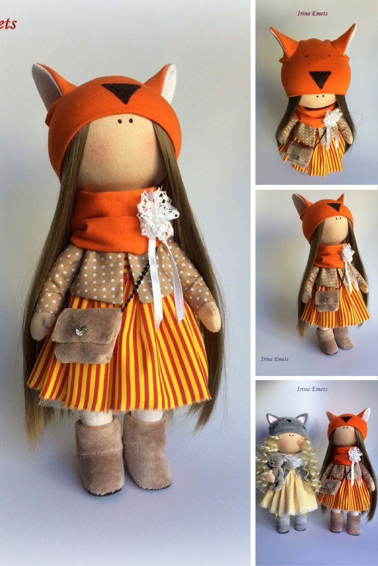 Fox doll Textile doll Handmade doll Fabric doll orange color Soft doll Cloth…