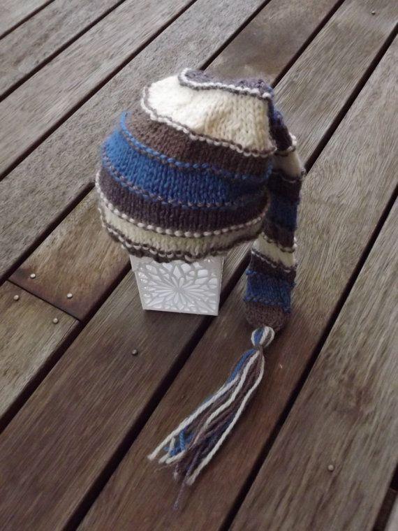 Newborn boy stripey sleepy hat by EMajorzcrafts on Etsy