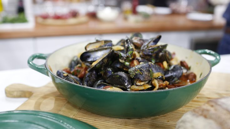 This easy one-pot seafood dish from the Top Chef host calls for quick-cooking mussels with fennel, red onion, chorizo and orange zest.