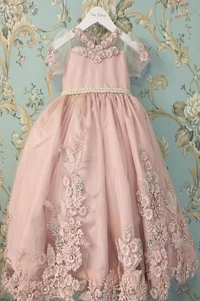 9dae6a04e77 A Line Pink Princess Scoop Neck Short Sleeves Bowknot Lace Appliques Flower  Girl Dresses PH860