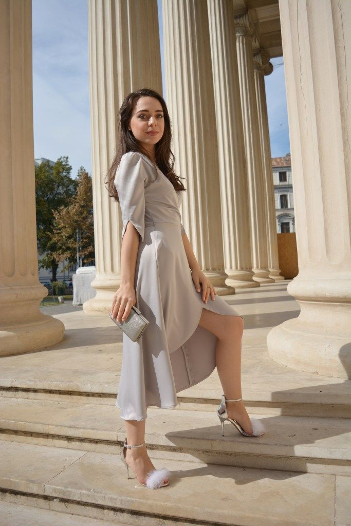 Silky Grey Dress and flurry sandals