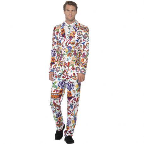 Traje Hippie para chico. Se compone de: Pantalón, americana y corbata perfecto para marcar estilo en tu fiesta.