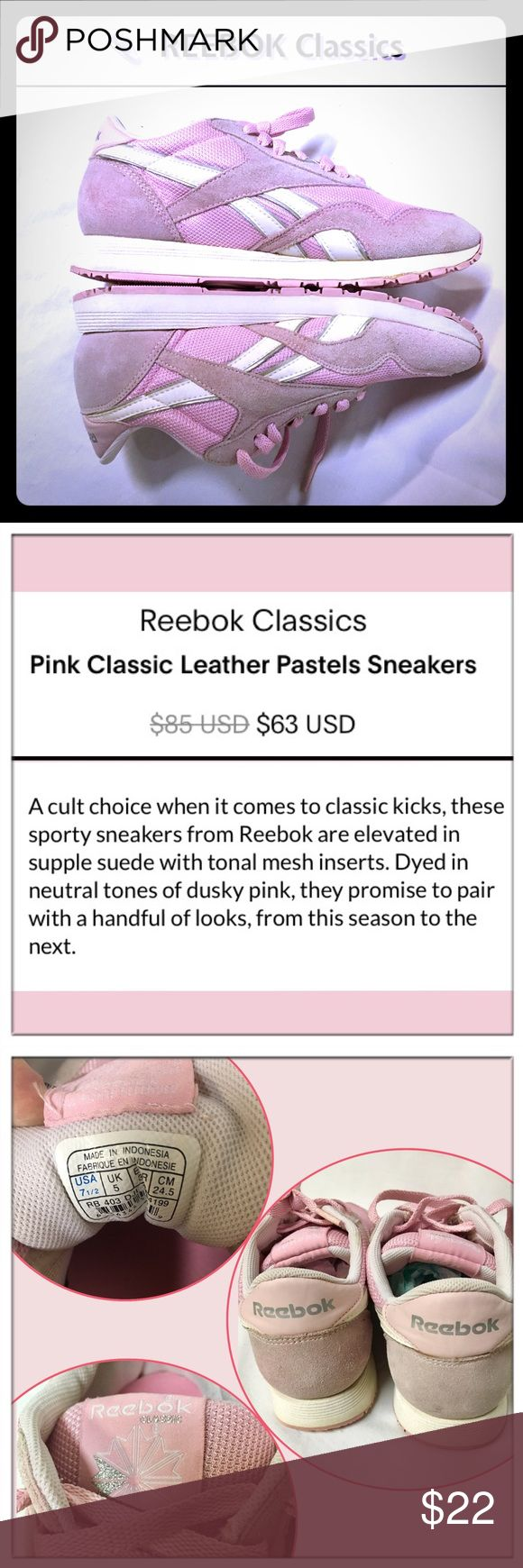 🆕REEBOK Classic dusty rose sneakers 👟 Reebok Classic style, suede & mesh dusty rose, pink sneakers in GUC, Sz 7.5. I  just put in brand new Memory foam insoles inside. More details in photos. This is an older shoe & price reflects that. Still in good condition & very clean for their age. Reasonable offers welcome. Reebok Shoes Athletic Shoes