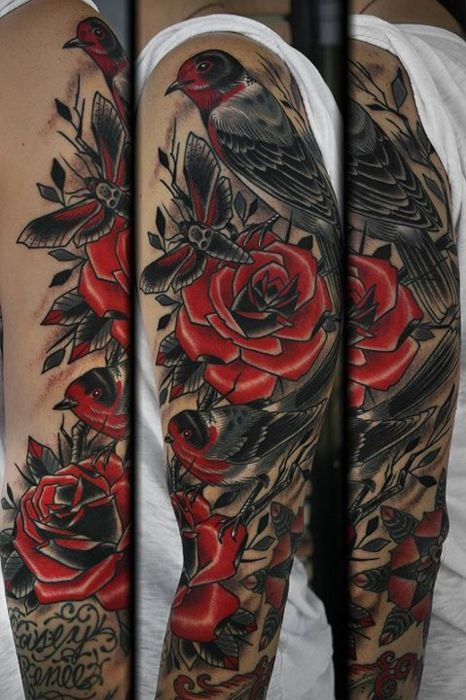 tattoo by stefan johnsson  red and black, simple and beautiful.