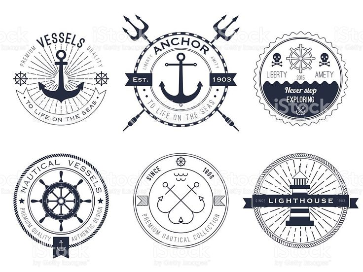 Nautical symbols showing anchors and lighthouses royalty-free stock vector art
