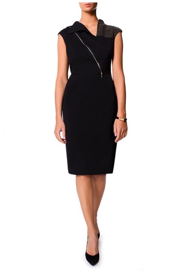 Doskonała Czarna Sukienka z Suwakiem