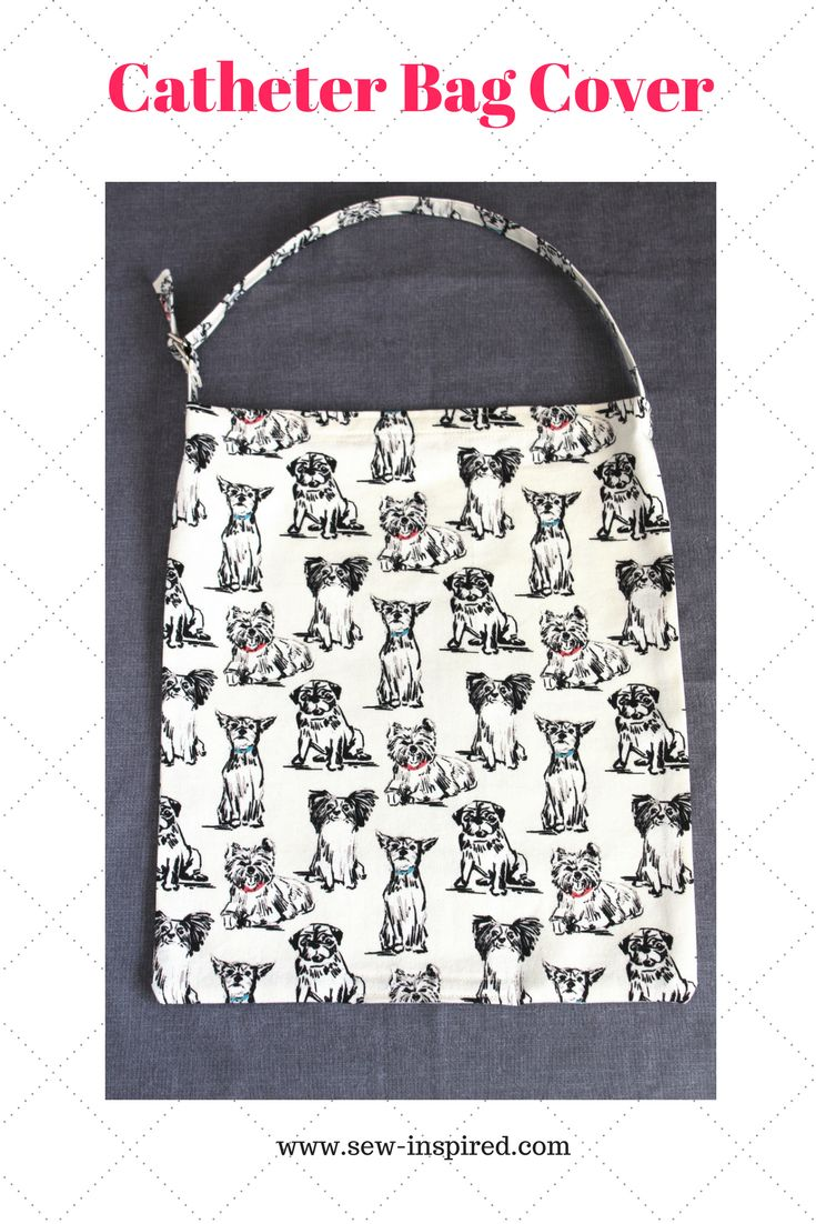 Catheter bag cover and tubing cover with a fun, small breed pup print on a cream background!