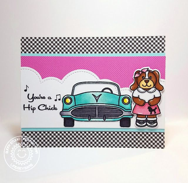 Sunny Studio Stamps: Sock Hop 1950's Hip Chick Retro Car Card by Lindsey