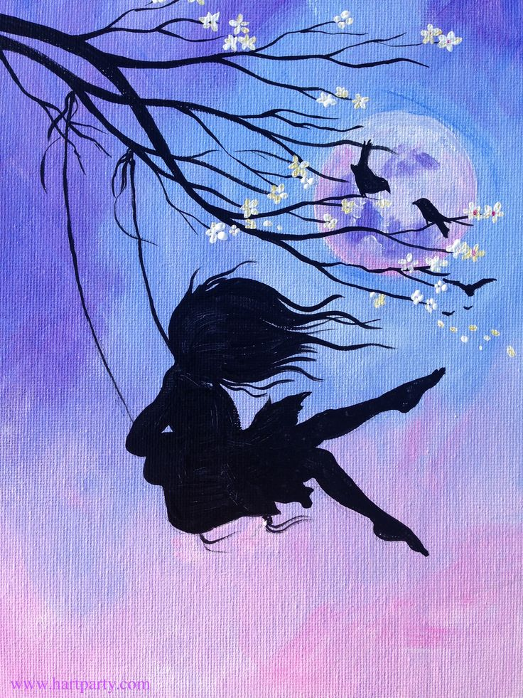 Beginner Learn to Paint Acrylic a wild haired girl swinging in front of a full moon from A Cherry Blossom Branch #coloroftheyear #pantone2016 #coloroftheyearart #paintinglesson https://www.youtube.com/watch?v=TLWbcnu6KSI