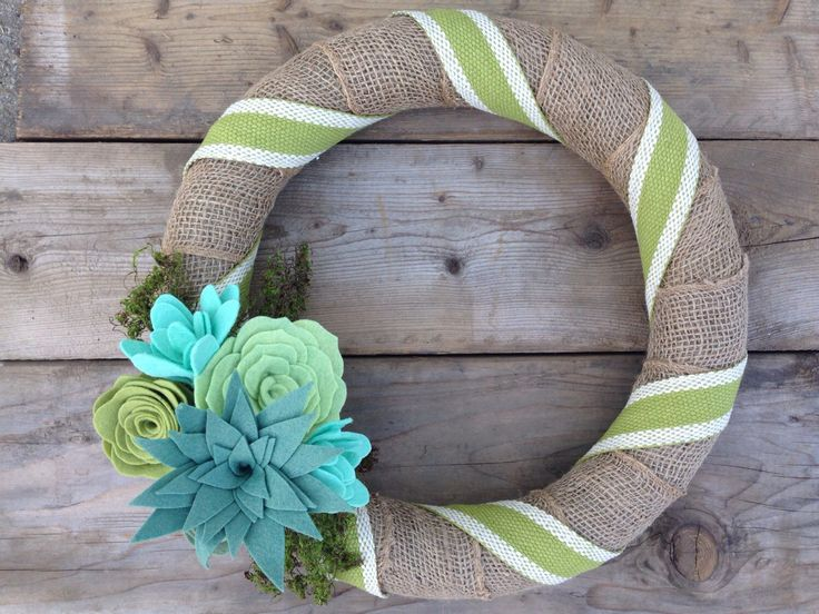 "Burlap Wrapped Wreath, Felt Succulent Wreath, Aqua & Green, with Mossy ribbon 14"" by TheRuffledPage on Etsy https://www.etsy.com/listing/241563010/burlap-wrapped-wreath-felt-succulent"