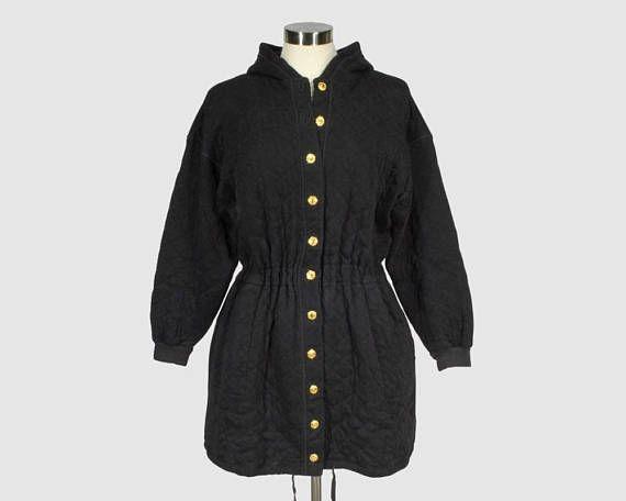 Sonia Rykiel Vintage 1980s Qulited Hooded Knit Parka Jacket