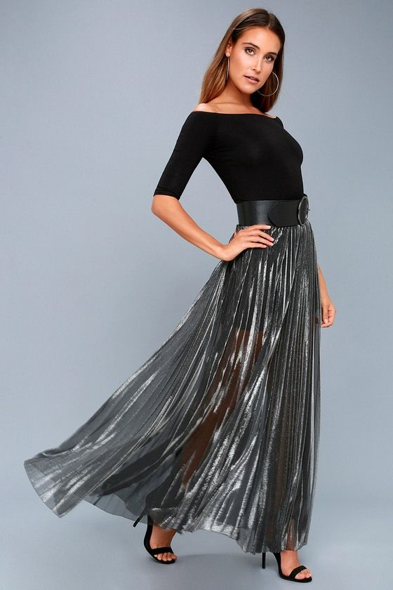 839491c99a420c It's your time to shine in the Metallic Maven Gunmetal Pleated Maxi Skirt!  Sheer, metallic mesh starts at an elastic, banded high-waist, then falls  into a ...
