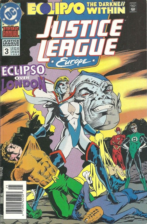 """JUSTICE LEAGUE EUROPE OVER LONDAN (DC Comics)  This is an """"Eclipso: The Darkness Within"""" tie-in issue. This 1992 event ran through a 2 part mini-series and 18 1992 Annuals. Story continues in Eclipso: The Darkness Within...  Read Now: http://ocomics.com/product-category/comics/dc-comics/  #buy #DC #comics #online #ocomics #thelittlealien"""