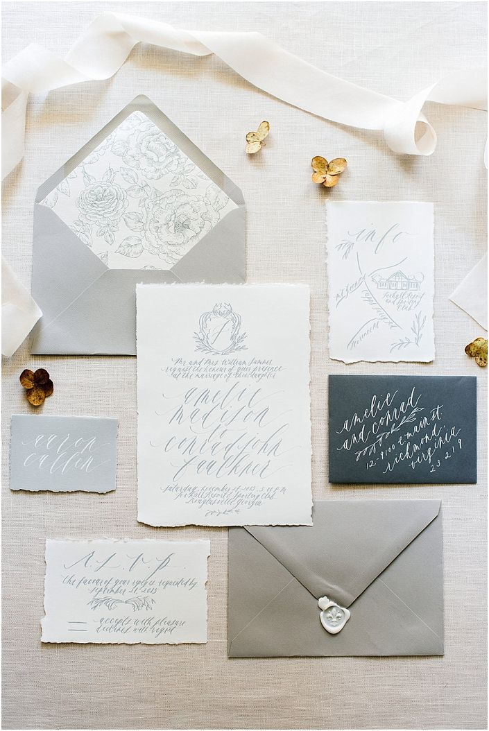 gray wedding stationery suite: