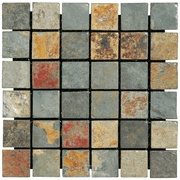 """Modern Mosaics - 2"""" x 2"""" Tumbled Slate Mosaic Sheet in California Gold  Perfect for my back splash in the kitchen!"""