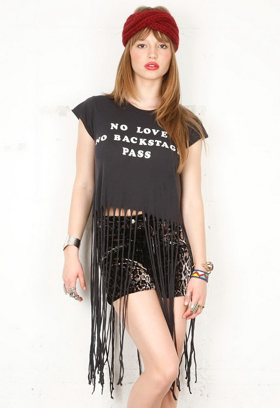 Wildfox Backstage Pass Festival Fringe T in Dirty Black - Summer music fest approp!