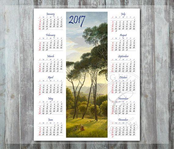 8x10 inch Digital Year Calendar, 2017 DIY Calendar, Printable Wall art, Green Forest Woods, Calm Landscape Oil painting PDF jpeg (C012-17) by collageva