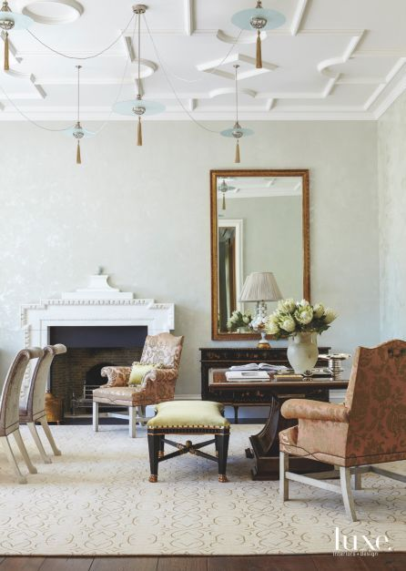 Rather Than Placing A Single Massive Table In The Formal Dining Room Aiduss Designed A Pair Of Tables And Instead O Interior Design Luxe Interiors Interior