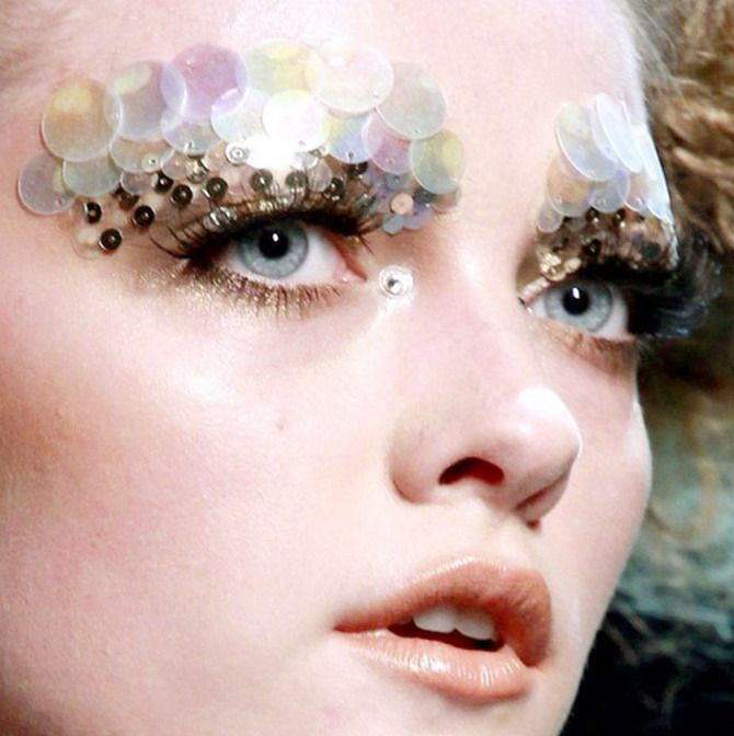 Paillette eyes and eyebrows on Vlada for Christian Dior haute couture, Autumn/Winter 2011.