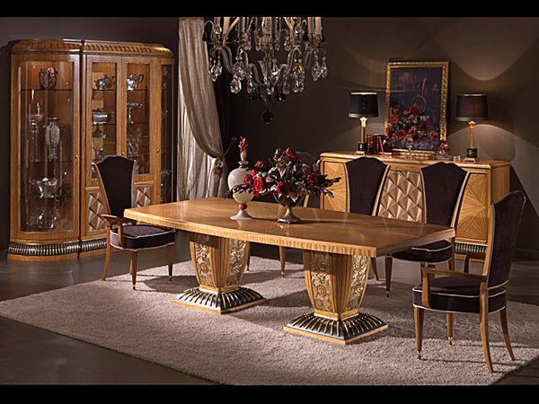 Dining room with radial inlays and mother perl insert. Gold leaf details, handmade decorated bas-relief.  #italianstyle #abproduction #abstyle