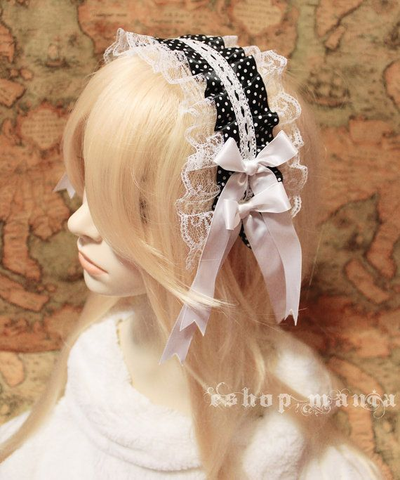 Lace black white headband with white bows , for Lolita maid costume, maid headband, costume party on Etsy, $16.69 AUD