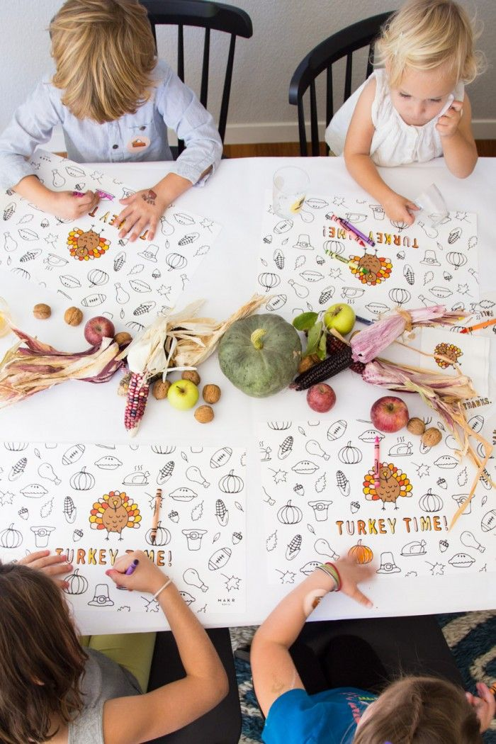 Makings of a Thanksgiving Kids' Table