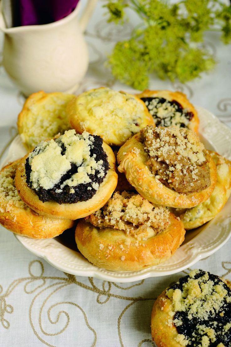 Koláče - Slovakian circular sweet breads filled with poppy seed, walnut, cheese or plum jam filling.