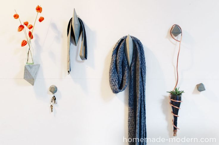 HomeMade Modern DIY: Faceted Concrete Hooks Options | seriously cool, geometric, industrial, cheap!