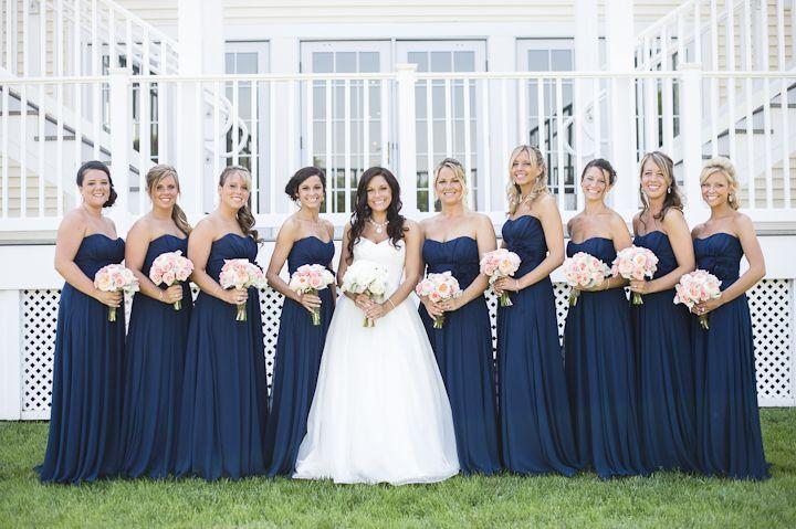 Navy strapless lange bruidsmeisjes jurken